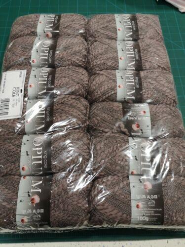 12 x king Cole Opium 1638 mink brown 100g balls cotton blend