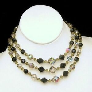 Vintage-3-Multi-Strand-Black-Gray-AB-Crystals-Choker-Necklace-Adjustable-Unique