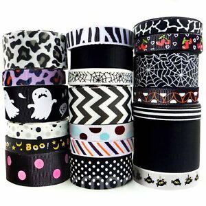 20x1-Yards-Assorted-Grosgrain-Ribbon-20-Styles-3-8-034-1-5-034-Black-Theme-Craft-Bo