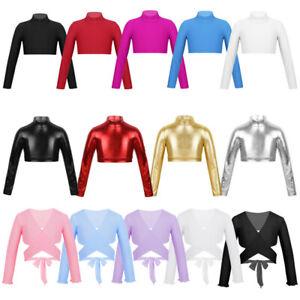 Kids Girls Ballet Crop Top Long Sleeve Tees Gym T-Shirt Blouse Wrap Tank Tops