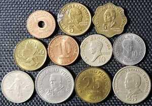 1966-1970 PHILIPPINAS 5,10,25 & 50 Sentimos Coin 11 Pcs (+FREE1 coin) #12152