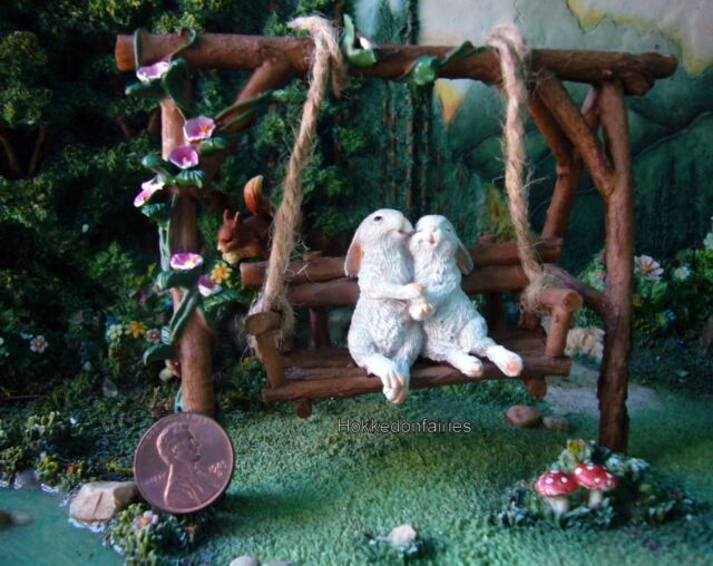 Wondrous Rabbit Lovers On Swinging Garden Bench To 4615 Miniature Fairy Garden Dollhouse Evergreenethics Interior Chair Design Evergreenethicsorg