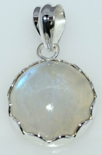 Natural Moonstone Solitaire Gem Pendant Sterling Silver Jewellery Birthstone NEW