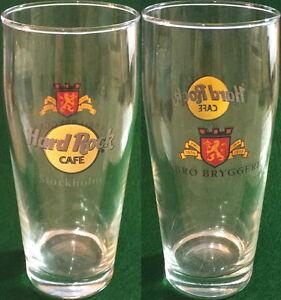 Hard-Rock-Cafe-STOCKHOLM-6-75-034-BEER-Drink-GLASS-Abro-Bryggeri-Brewery-Logo-Crest