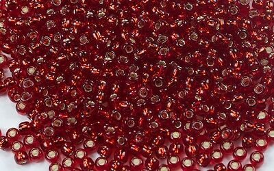 11/0 Round Toho Japanese Glass Seed Beads #25C- Silver-Lined Ruby 10g