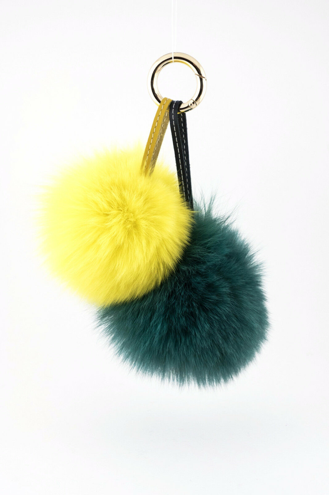Green & Yellow Rabbit Fur Pom-Pom Key Chain