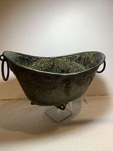 Vintage Verdigris Green Metal Footed Cache Flower Pot Jardiniere Rope Handles