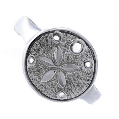Solid Sterling Silver Rhodium Plated Sand Dollar Ring