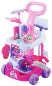 enfants roses m nage chariot de nettoyage aspirateur filles jeux de r le set ebay. Black Bedroom Furniture Sets. Home Design Ideas