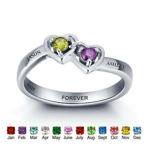 Personalized Ring Birthstone Promise Name Ring Anniversary