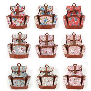 Three Pocket Pastel Rose Floral Mini Backpack Fashion Handbag ...
