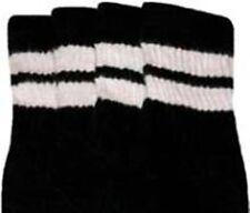 "22"" KNEE HIGH BLACK tube socks with WHITE stripes style 2 (22-71)"