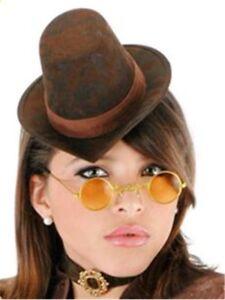 Womens-Victorian-Steampunk-COSTUME-KIT-Mini-Brown-Top-Hat-glasses-choker
