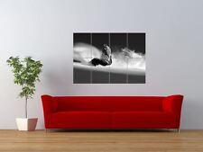 SNOWBOARDING BLACK WHITE SNOWBOARD SKIING GIANT ART PRINT PANEL POSTER NOR0542