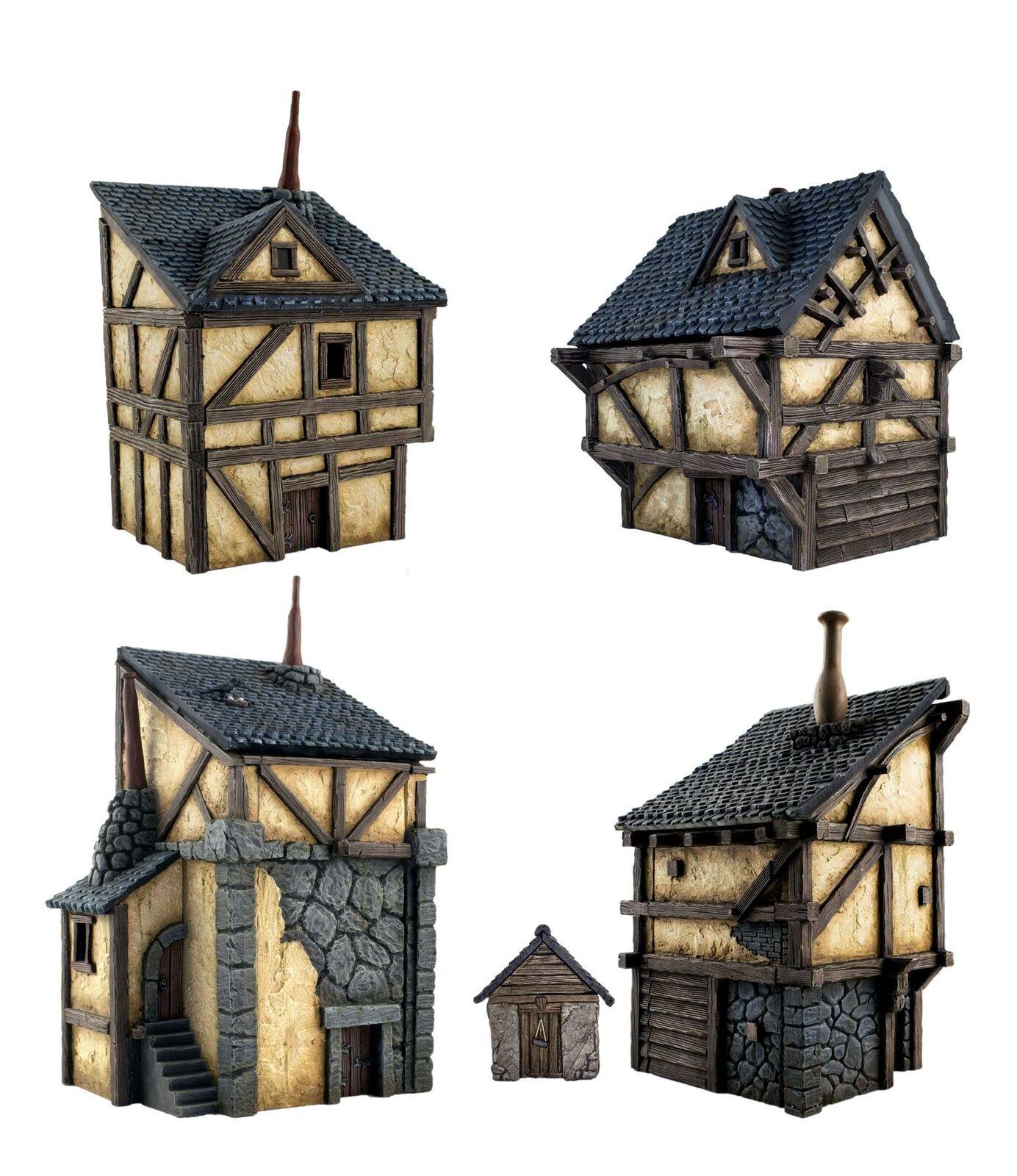 WWG Set de 4 Casas Medievales  - Terrenos, Escenografías Wargames medievales.  au prix le plus bas