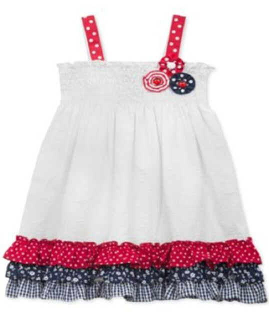 0f8ee58d6be RARE Editions White Seersucker Patriotic 4th of July Sundress 6-9m ...