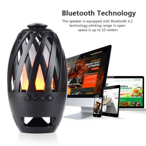 Outdoor Portable LED Flame Camping Lamp Wireless Bluetooth Music LoudSpeaker
