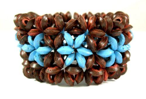"""Fleur de noix de coco Bois Perles Stretch cuff bracelet 6/"""" 8/"""" Extensible Bijoux BA204"""