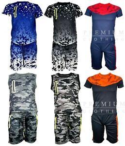 Ragazzi-Mimetica-Esercito-Mimetico-Gilet-Con-Pantaloncini-Ragazzi-Top-Casual-Cotton-T-Shirt-Polo