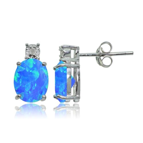 Sterling Silver Created Blue Opal and Diamond Accent Oval Drop Stud Earrings