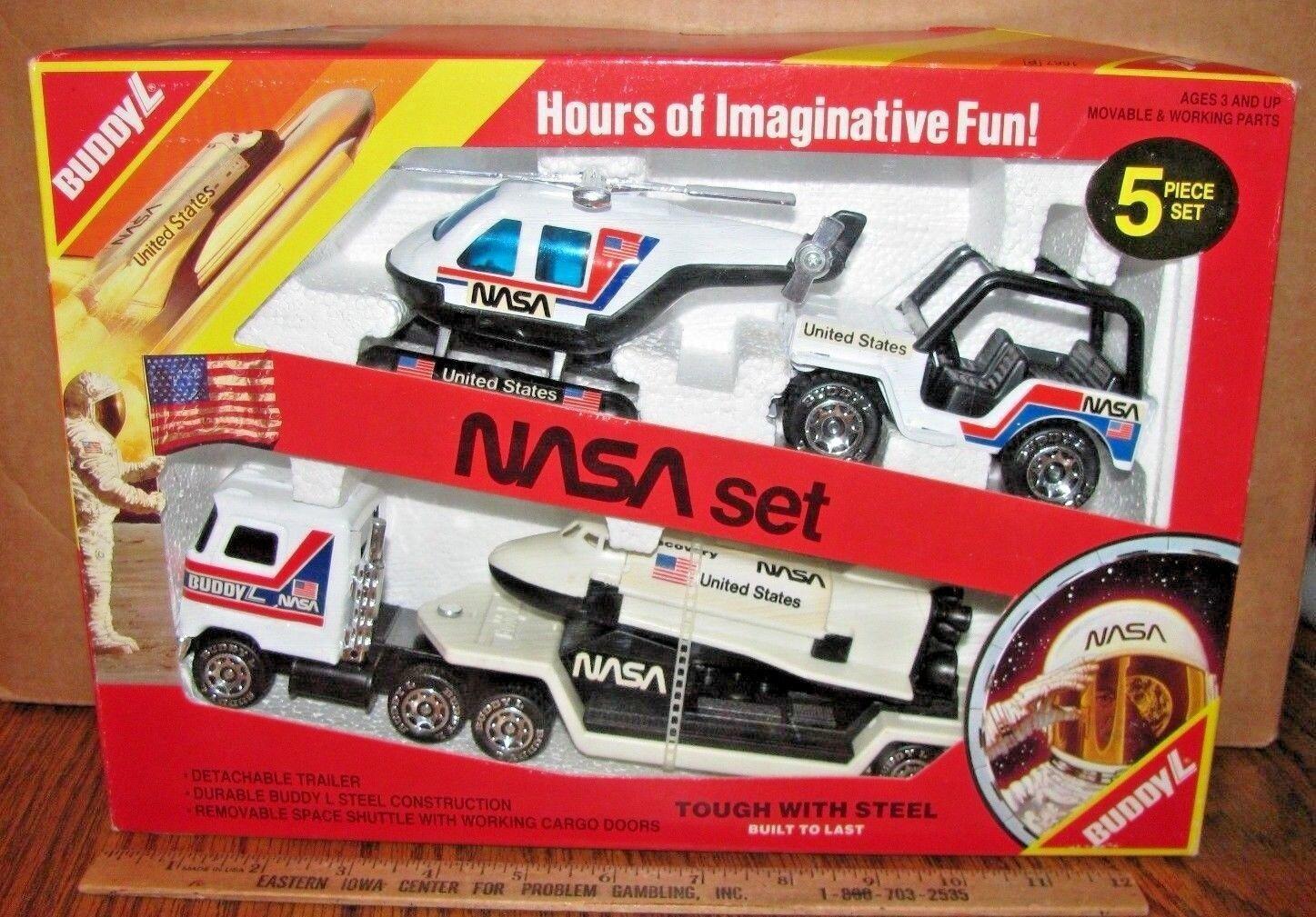 L die nasa space - shuttle  discovery  jeep hubschrauber stahl 1984 spielzeug set nib