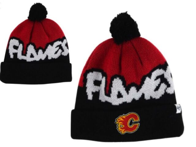 brand new a5a0e b6f40 New NHL NWT Calgary Flames 47 Brand Underdog Pom Youth Winter Hat Knit GD