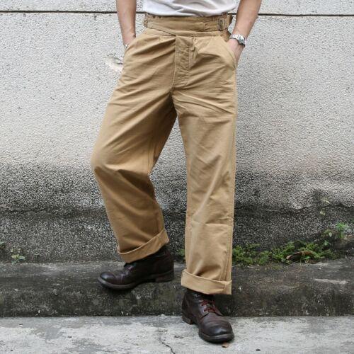 Men/'s Gurkha Pants Vintage Army Military Trouser Straight Khaki Olive Bottom New