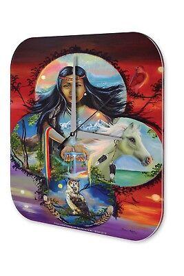 2019 Mode Wanduhr Retro Western Uhr Indianerfrau Pferd Eule Wasser Hände Acryl Wand Deko Ideaal Cadeau Voor Alle Gelegenheden
