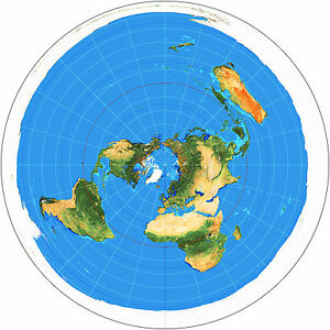 Azimuthal Equidistant Projection Flat Earth Map Zetetic Geo