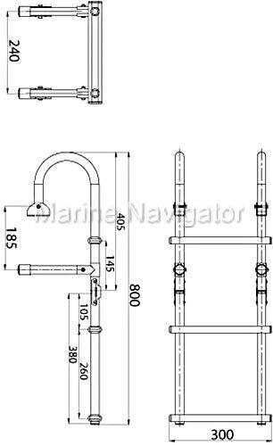 LINDEMANN Badeleiter klappbar mit Handlauf 3 Stufen