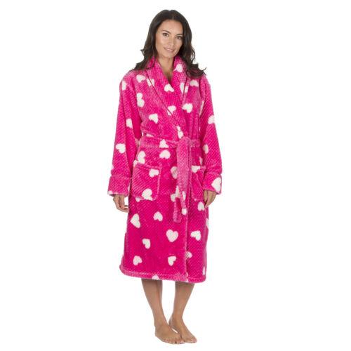 Ladies Heart Print Waffle Shawl Collar Gown Ladies Dressing Gown Bath Robe