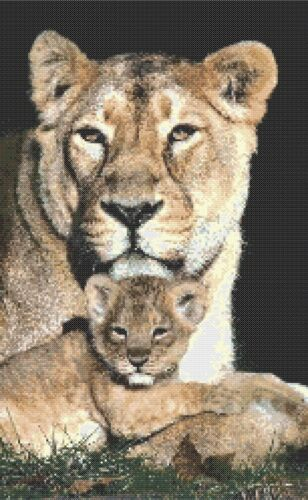 COUNTED CROSS STITCH CHART LIONESS AND CUB # 4