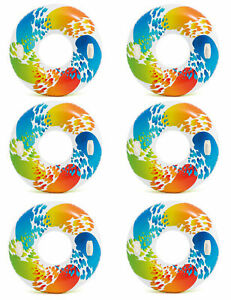 Intex-Inflatable-47-034-Color-Whirl-Tube-Swimming-Pool-Raft-with-Handles-6-Pack