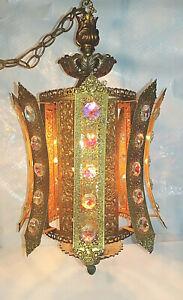 Vintage-1970s-Dazzling-Mediterranean-Huge-Crystal-amp-Brass-Filigree-Swag-Lamp-MCM
