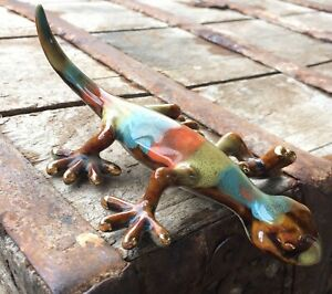 Golden-Pond-Ceramic-Figurine-Gecko-by-Gibson-Lizard-Figurine-Glazed