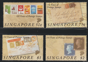 (145)SINGAPORE 1990 150 YEARS OF POSTAGE STAMPS SET 4V MNH. CAT RM 25