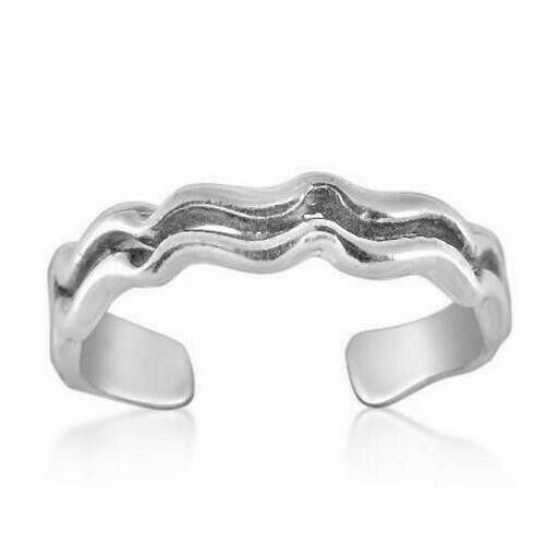 Dual Zig Zag Toe Ring Genuine Sterling Silver 925 Adjustable Jewelry 1.3 grams