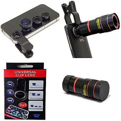 5In1 8X Telephoto Telescope Clamp Clip Phone Fisheye Wide Lens for iphone 6 5s