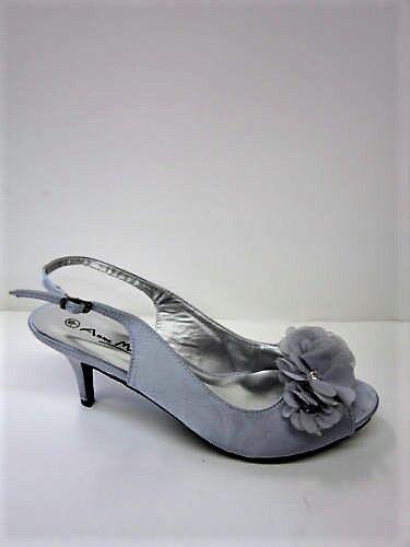 Anne Michelle L2R204 Ladies Silver Satin Textile High Heeled Shoe (R37A)(Kett)