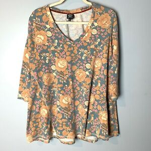 Bobeau Nordstrom Women's Top Size Large V-Neck 3/4 Sleeves Floral Gray Orange