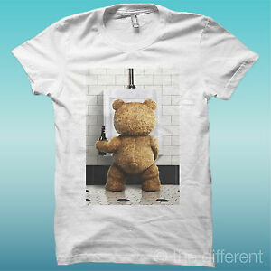 T-SHIRT-034-TED-034-ORSO-BEAR-BEER-BIANCO-THE-HAPPINESS-IS-HAVE-MY-T-SHIRT-NEW