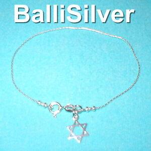 St-Silver-925-Fine-Chain-BRACELET-w-STAR-of-DAVID-Charm