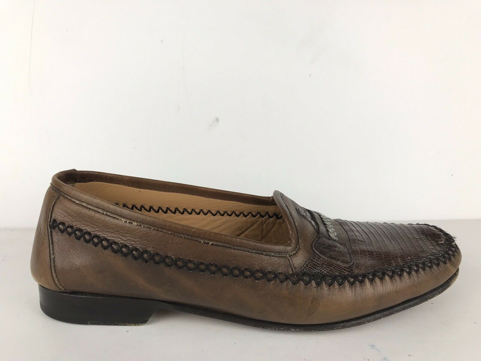 MEZLAN Men's Regan shoes Genuine Lizard Brown Loafers M in Spain SZ 9 M  375