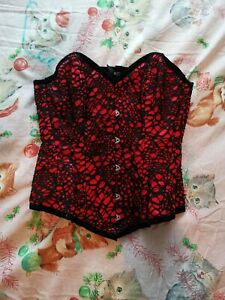 Vollers Red Satin Corset With black Net Mesh Overlay 24 Inch New Without Tags