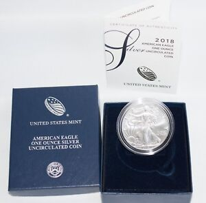 US MINT AMERICAN ONE OUNCE SILVER EAGLE UNCIRCULATED 2018 W in Box COA