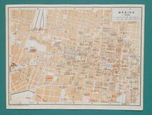 MEXICO-CITY-Town-Plan-1909-MAP-Baedeker-6-x-8-034-15-x-20-cm