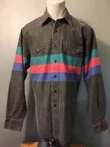 f1fe4d35 Vtg 80s 90s Wrangler Brush Popper Western Cowboy Shirt Mens L Black ...