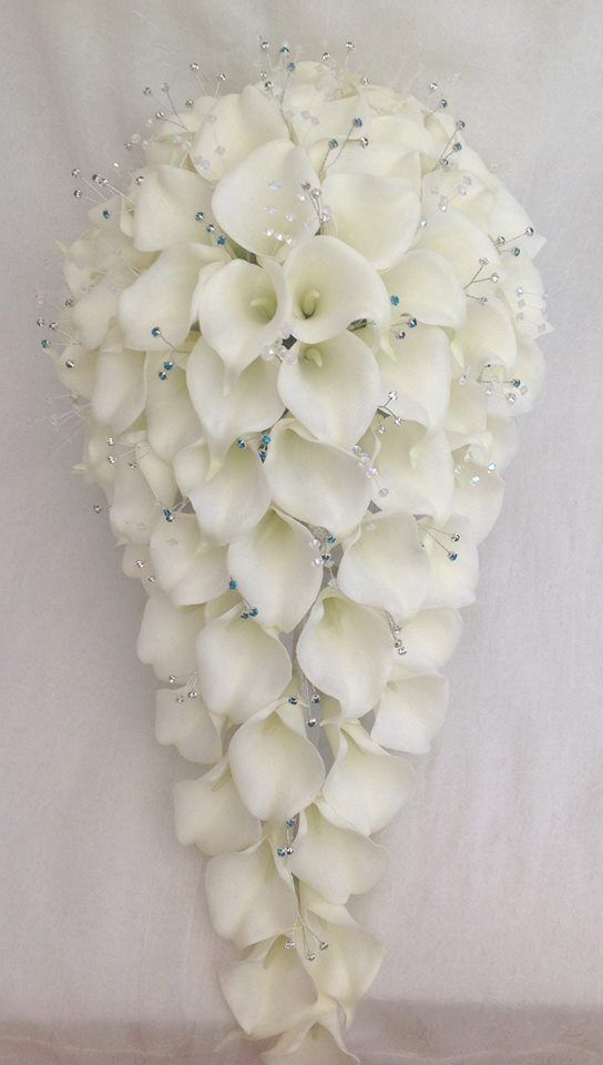 BRIDES TEARDROP BOUQUET, CALA LILIES AND DIAMANTES, ARTIFICIAL WEDDING FLOWERS