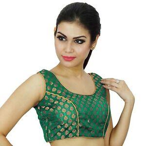 Ready-Made-Choli-Weaving-Saree-Indian-Wedding-Party-Wear-Women-Blouse-Crop-Top