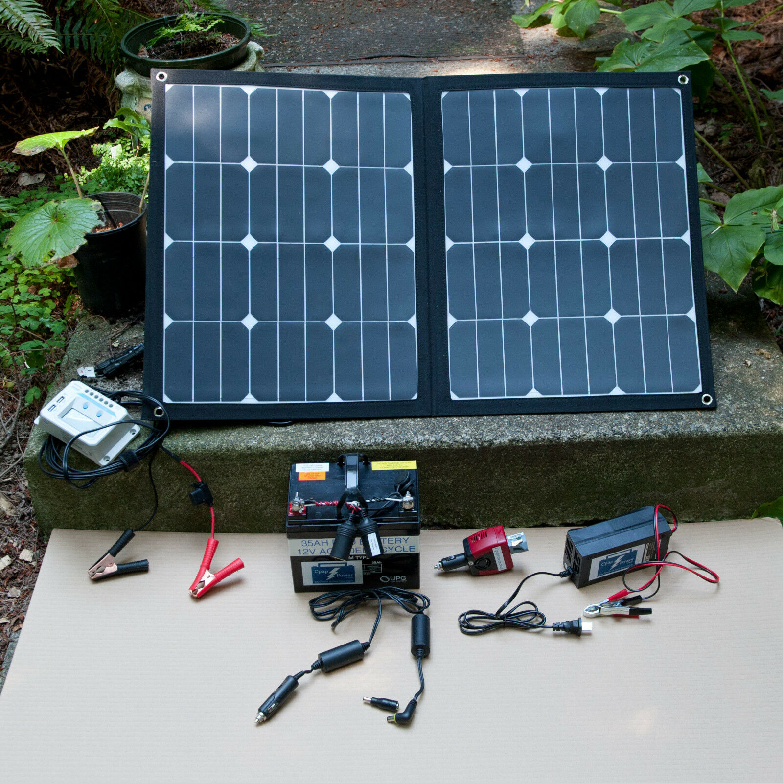 SOLAR POWER Charged BATTERY KIT  - Most Cpap Brands -Camping RECHARGE from SUN